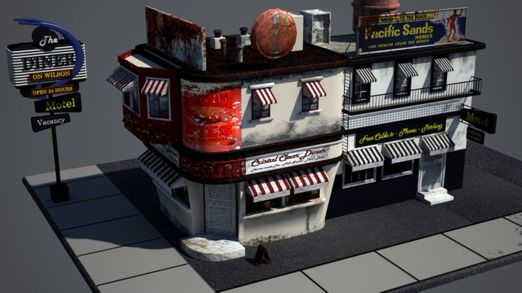 Diner fifties - Modeling and textures (damaged) 1920×1080