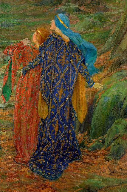 In Awe by Edwin Austin Abbey (American, 1852–1911). Oil on canvas.