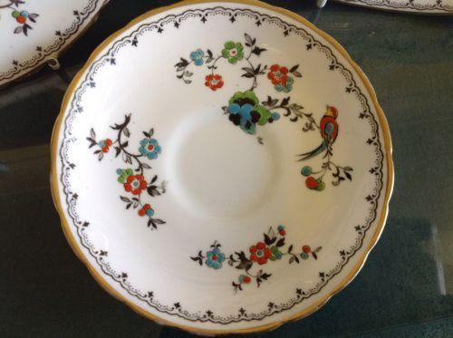 Vintage-B-G-M-Tuscan-Art-Deco-Bone-China-Bird-of-Paradise-Tea-Trio-Cake-Plate