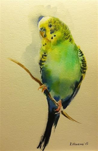 "Daily Paintworks - ""budgie14"" - Original Fine Art for Sale - © Katya Minkina"