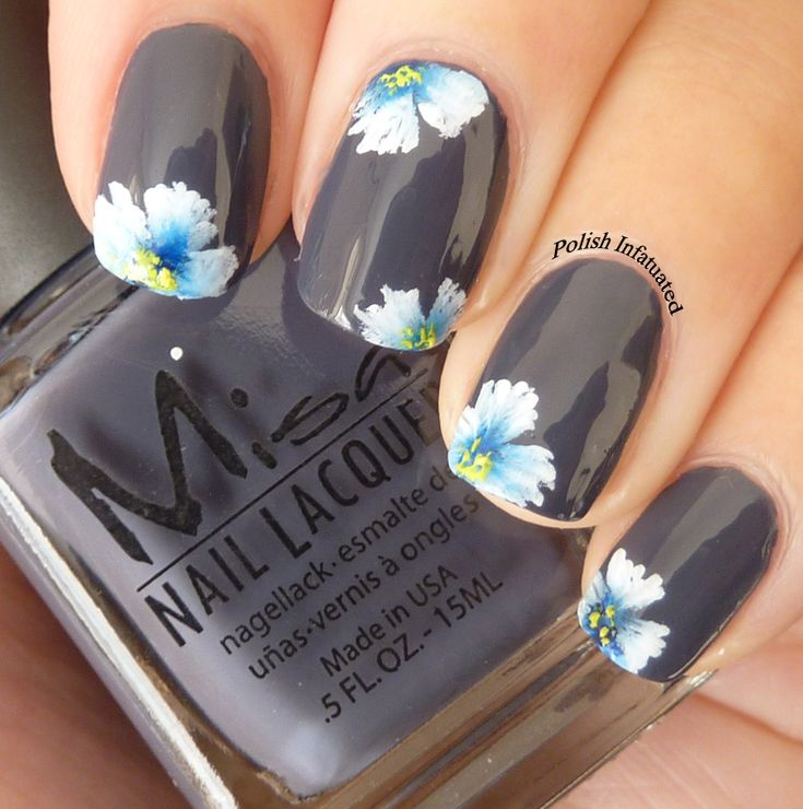 Pinned by www.SimpleNailArtTips.com ONE STROKE NAIL ART DESIGN IDEAS -One stroke flower nail art, white and blue flowers on dark grey