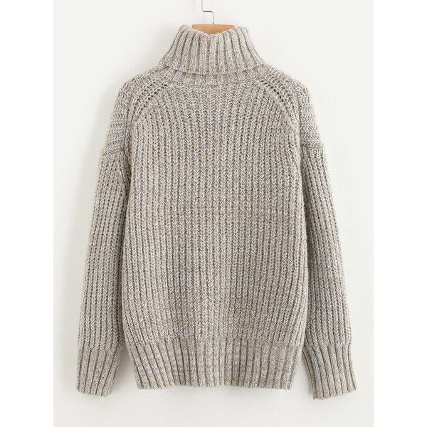 Drop Shoulder Roll Neck Jumper (37 SGD) ❤ liked on Polyvore featuring tops, sweaters, roll neck jumper, roll neck sweater, rollneck sweaters, drop shoulder sweater and brown top