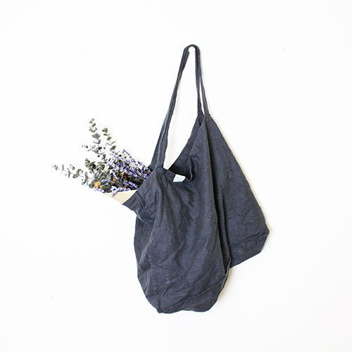Large charcoal / warm black linen tote bag / linen beach bag / linen shopping…