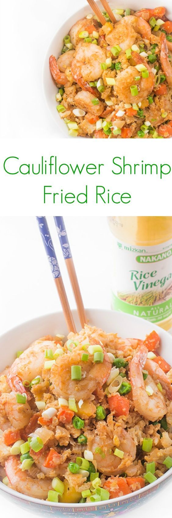"Cauliflower Shrimp Fried Rice - Skip the takeout and try this paleo-friendly cauliflower shrimp ""fried rice"" recipe! You won't believe how easy and flavorful homemade Chinese food tastes."