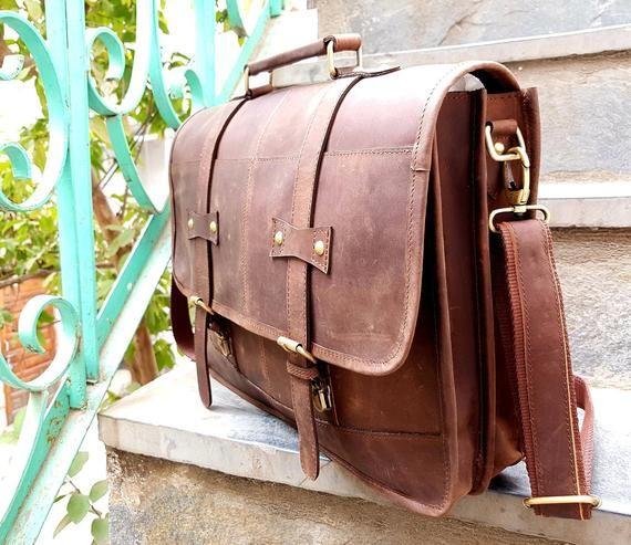 New Men/'s Vintage Leather X-Large 18/'/' Laptop Shoulder Messenger Sachel Bag
