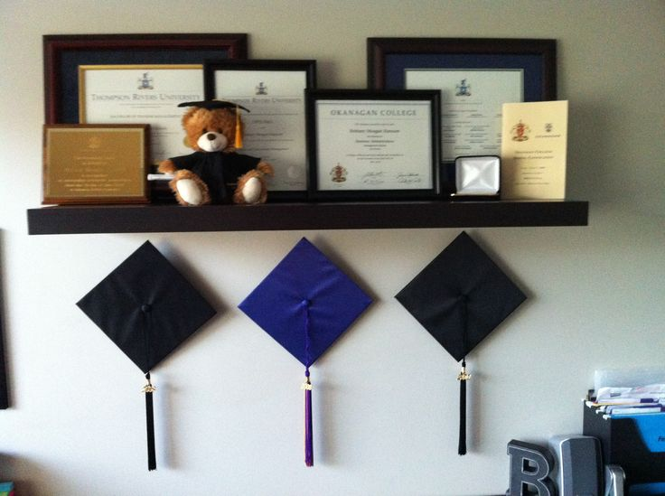 hang grad hats underneath all earned awards, diplomas and degrees.