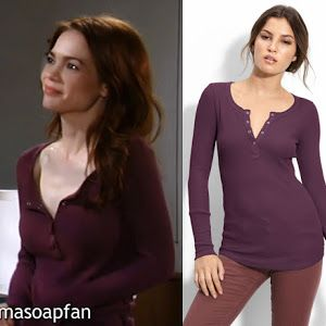 I'm a Soap Fan: Elizabeth Webber's Smocked and Ruffled Purple Top - General Hospital, Season 52, Episode 75, 07/16/14