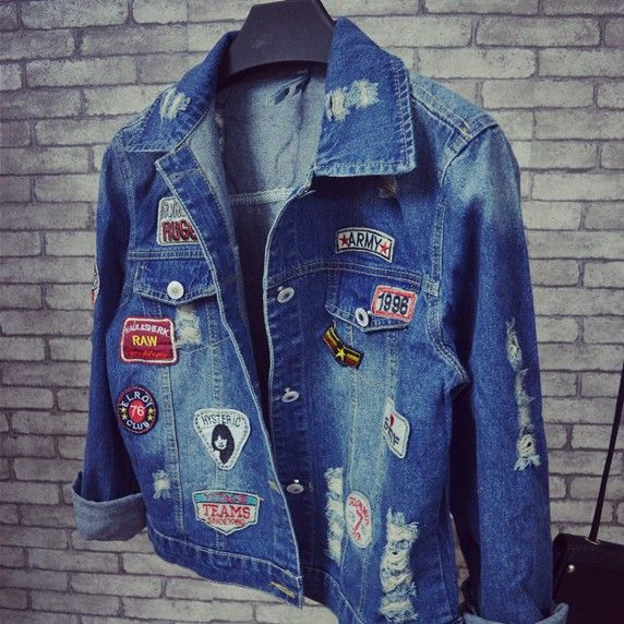 Holes Denim Jacket Female 2016 Spring New Women Coats Trend Patch Chaquetas Mujer Loose Dames Jassen All-Match Abrigos Mujer