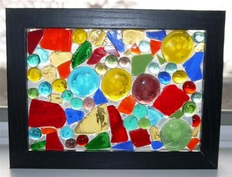 Make a mosaic sun catcher using a simple wood and glass for Mosaic pieces for crafts