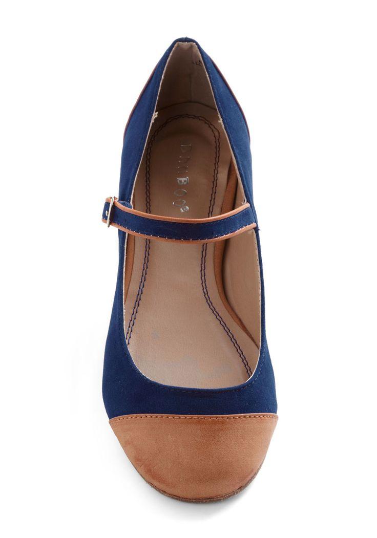 cap toe flats, cobalt and nude