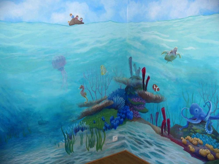 Coral Reef In Corner Can See Above Water And The Kids In The Boat Sea Life Art Underwater