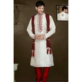 Presenting Off White Art Silk #Sherwani with Stone Work Order Now@ http://zohraa.com/off-white-art-silk-sherwani-31127.html Rs. 5849.