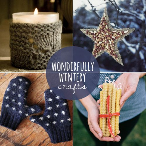 Winter Warm-Up: 10 Wonderfully Wintery Crafts including cozy wrap for a candle using an old sweater.