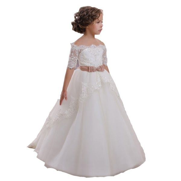Lace Floor Length Ball Gown Evening Party Costumes Holy Communion Dresses
