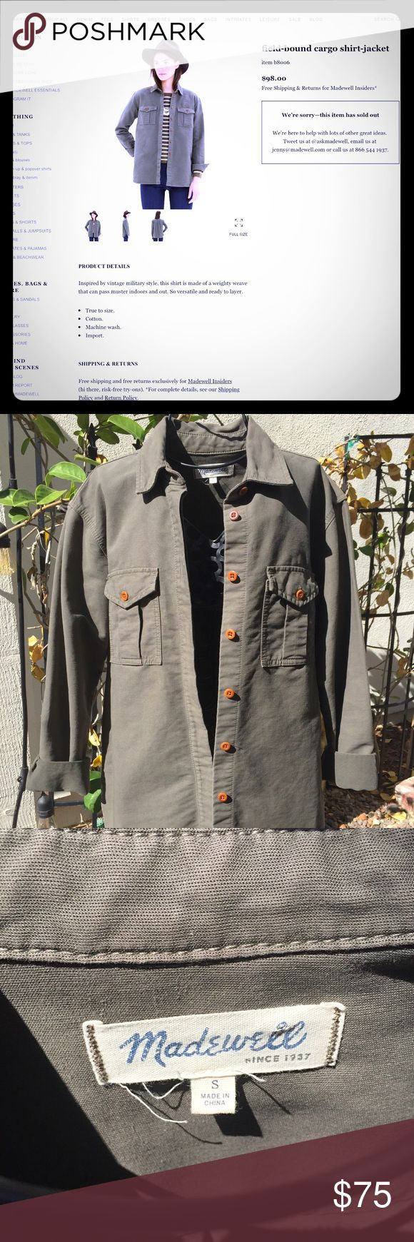 Madewell Green Field bound Cargo Shirt Jacket Inspired by vintage military style, this shirt is made of a weighty weave that can pass muster indoors and out. So versatile and ready to layer.   True to size. Cotton. Machine wash. Import. Madewell Tops Button Down Shirts