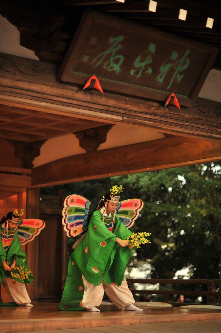 舞楽 : Kochonomai – Kitazawa Hachimangu Matsuri : Posted in Japanese Traditions, People, Places by tokyobling on August 8, 2014 : At last year's Kitazawa Hachimangu Matsuri (festival) in Tokyo's Setagaya Ward I saw one of the most ancient forms of ritual court dances, the Kochonomai, or butterfly dance. It probably arrived to Japan from Korea in the 8th century and has been completely unaltered ever since. The dance is performed by four or eight maidens (which in modern days usually means…