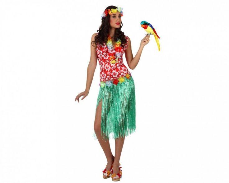 Vestito da hawaiana  -collana di fiori -coroncina di fiori -gonna a fantasia -camicia a fantasia E sei un'Hawaiana
