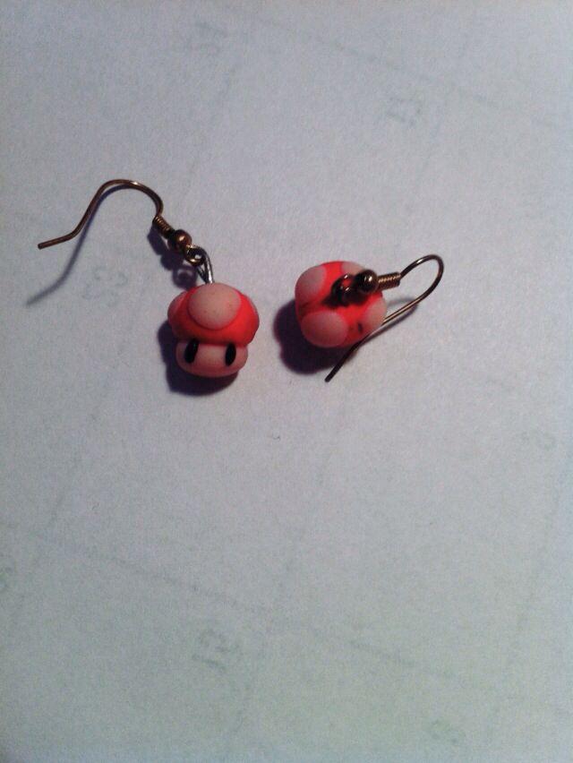 Mario fungus earrings FIMO clay