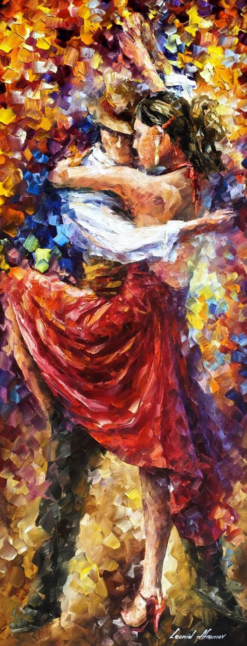 Tango Of Movement  Palette Knife Dancing by AfremovArtStudio
