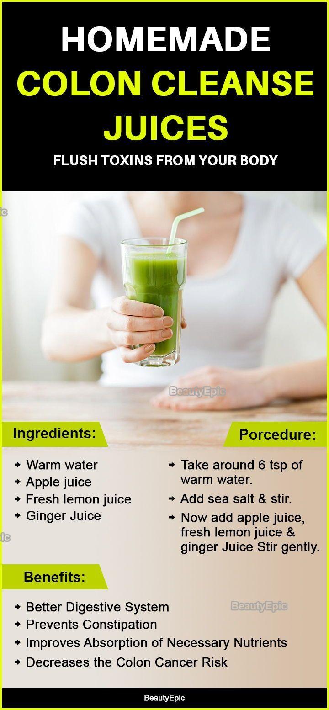 Homemade Juices To Cleanse Your Colon Naturally Detox Juice Lemon Detox Water Detox Juice Recipes