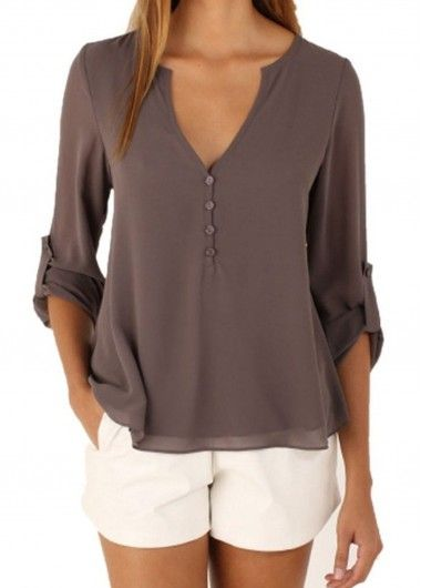 Three Quarter Sleeve Coffee V Neck Blouse