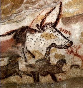 Cave painting - First big bull. Panel of the unicorn. Hall ...