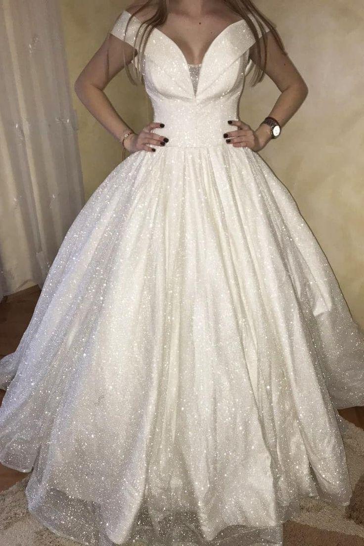 Glitter offtheshoulder princess ball gown wedding dress
