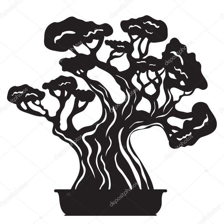 Bonsai Tree Silhouette Bonsai tree silhouette - stock illustration