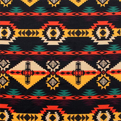 Navajo Arrow Desert Tribal Ponte de Roma Fabric - Soft ponte de roma knit  fabric in