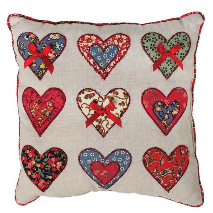Patchwork Hearts Cushion | DotComGiftShop