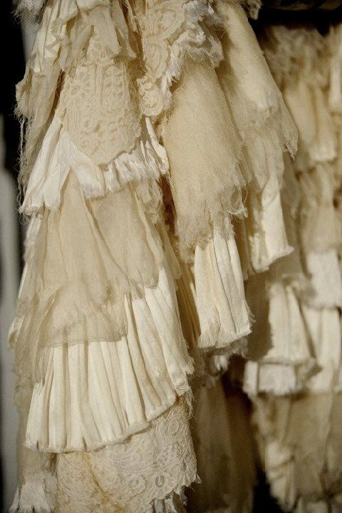 tattered lace etc...you could use this idea for curtains, as an amazing slip, a cool dust ruffle on a bed or a skirt!