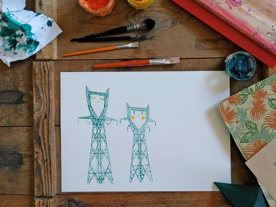 """Dreaming pylons"", serigraphy, emeraude/yellow green - Gouze's Goods"
