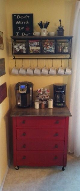 Coffee Bar made out of Popper's dresser.