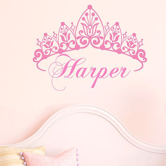 Our Personalized Princess Crown Decal is a great option for kids room and baby nursery decor.  This is a cute personalized princess crown