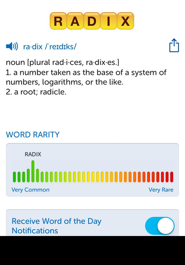 The best word I've seen today on Words with Friends is 'radix'. Can you come up with a better one?