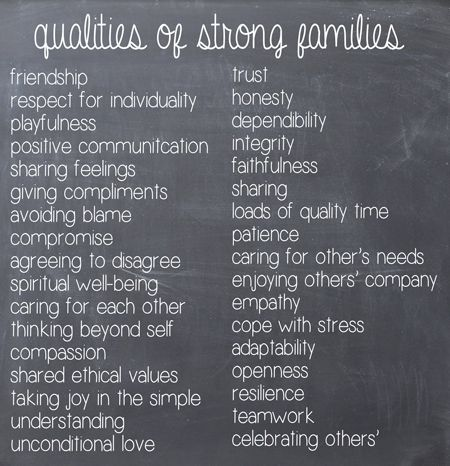 characteristics of a family relationship