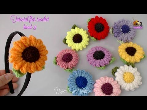 Tutorial flor crochet (mod-3) - YouTube