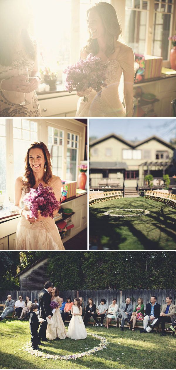 """A quaker backyard wedding. Each guest a officiant and this way the community """"marries"""" the couple while they stand in the circle of flowers. Beautiful."""