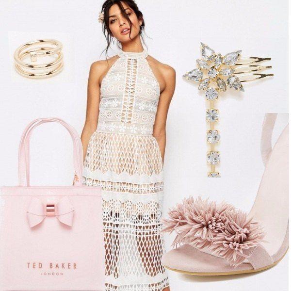 Bellissimo abito in pizzo e rete bianco. Adorabile e bon ton l'accostamento con accessori rosa. Capelli raccolti per un tocco chic...l'estate ci attende.