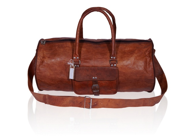 Weekend Overnight Duffel Bag Leather Handmade with Vintage Look