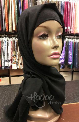 "BLACK Basic Solid Chiffon Crepe Black Hijab 24"""" x 64"""""