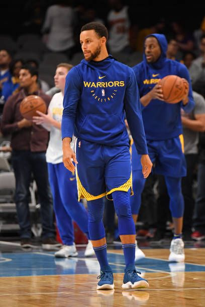 54b6008efadd Stephen Curry of the Golden State Warriors warms up before a preseason game  against the Los Angeles Lakers on October 12 2018 at the SAP Center in.