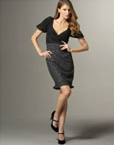 @Frans_Fashions Rebecca Taylor Dress Cheetha me Good Size 10  Sale $225.00 get @ Charcoal/gray leopard print. V neckline; ruched detail. Short puffed sleeves. High-waist skirt; ruffled hem. Wool/visco imported.