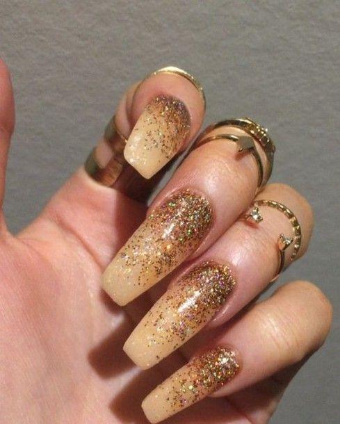 nail accessories acrylic nails tumblr girl nails gold nails knuckle ring gold…