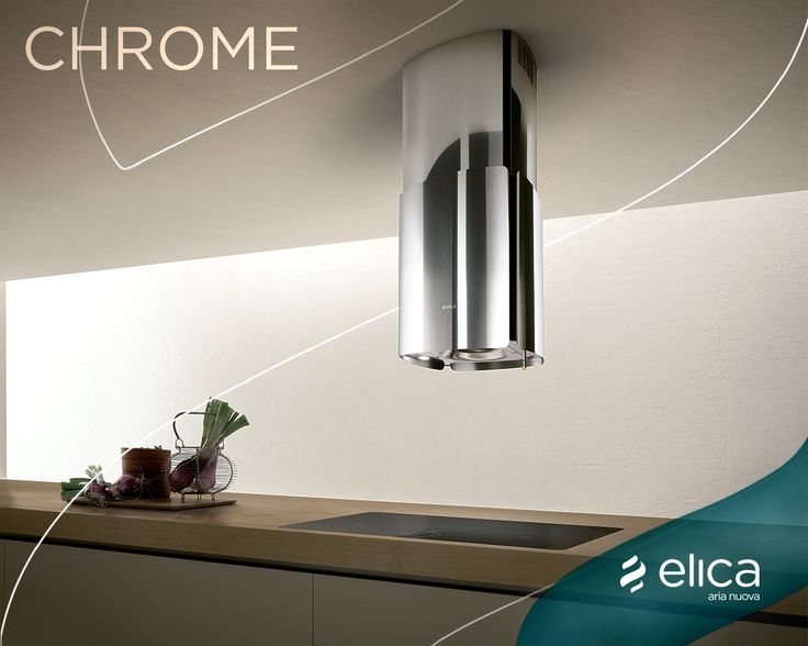With four separate panels of polished stainless steel, which convey strength and a timeless grace.  A gentle touch of the finger is all it takes to operate the powerful 600 CFM blower and halogen lighting. #Chrome #ElicaEvolution