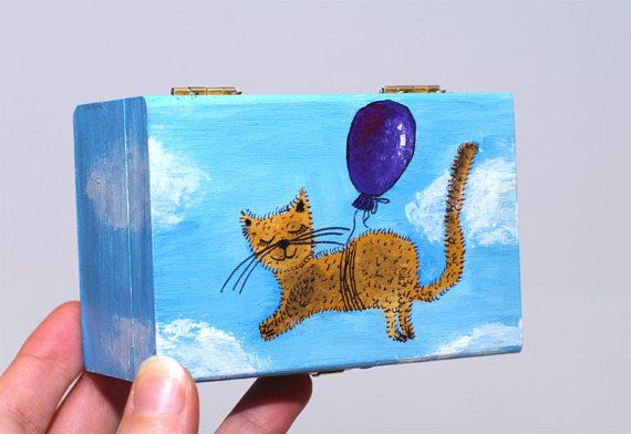 Hand painted box Cat jewelry box Wooden box with lid by artbyasta