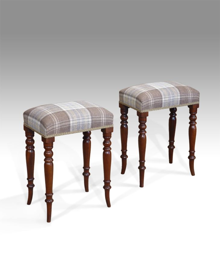 antique stools fine pair of century mahogany stools in good original condition stuff over seats upholstered in colefax and fowler and raised on elegant