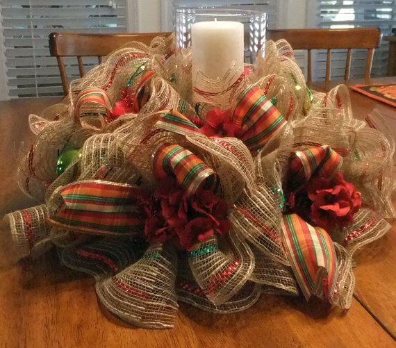 Holiday Table Centerpiece Fall Wreath Deco Mesh Table