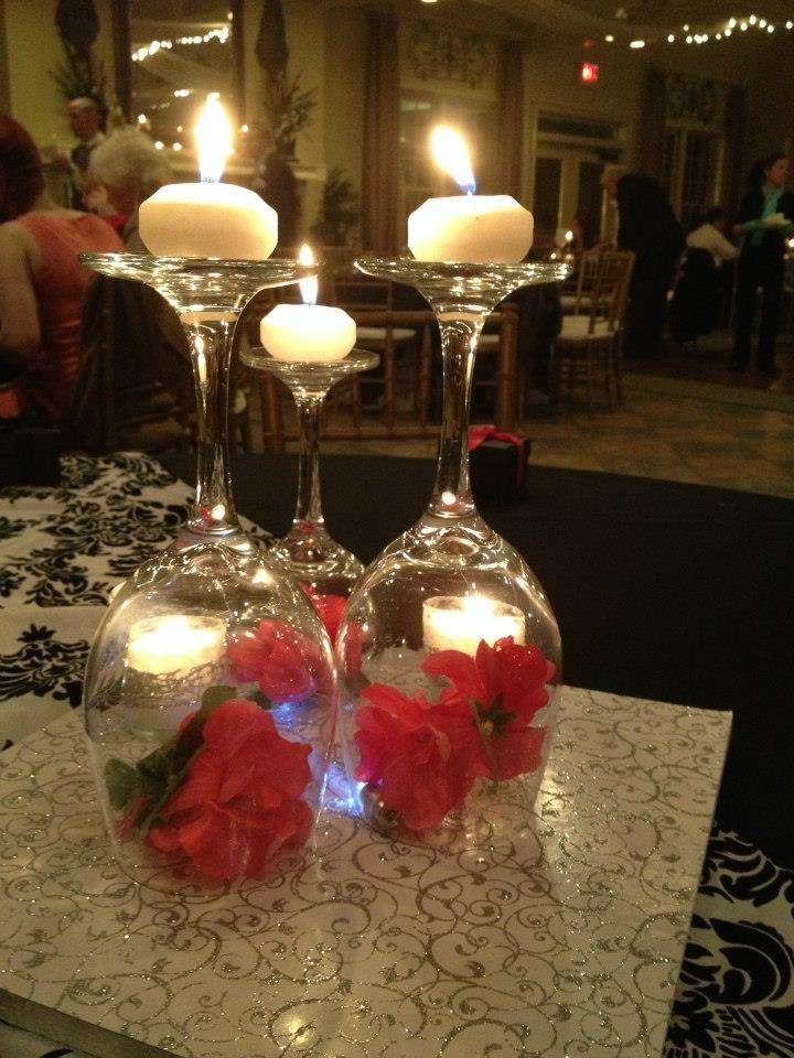 Wedding Centerpiece Ideas Using Wine Glasses Centerpieces Decorations Yellow