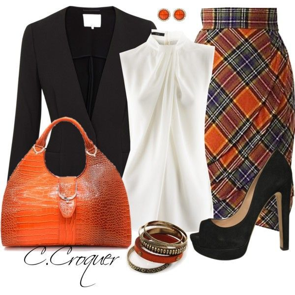 Nice Fall outfit. Cute purse. I love the Plaid Skirt, ...